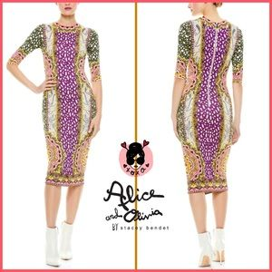 🏷 🆕 Alice + Olivia Multi Print Midi Dress